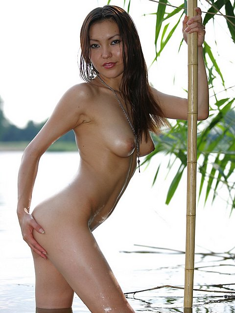 Sweet girl from mongolia strip in huge river